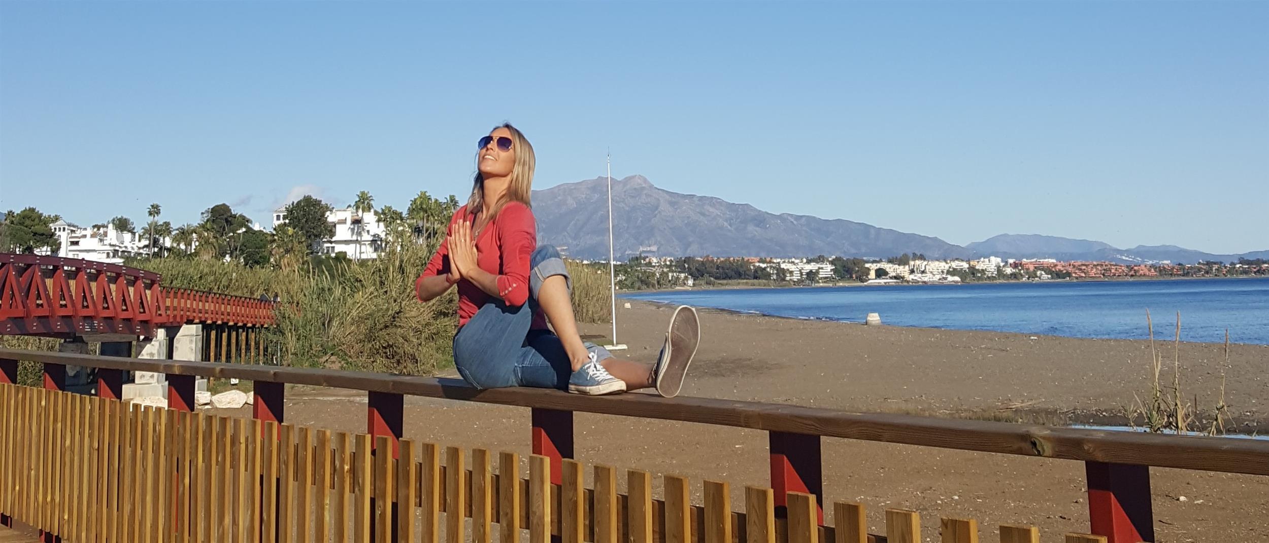 Yoga Photo - twist in front of La Concha Mountain, Marbella, Spain