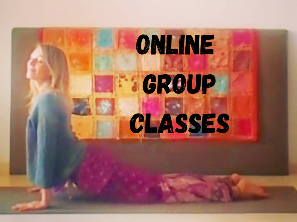 Upward-facing Dog Yoga Pose with text Online Group Classes